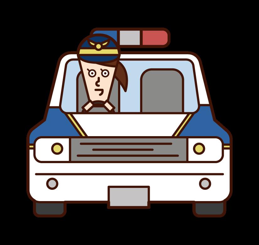 한국 경찰차와 경찰 (여성) 일러스트