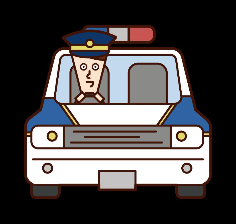 한국 경찰차와 경찰 (남성) 일러스트