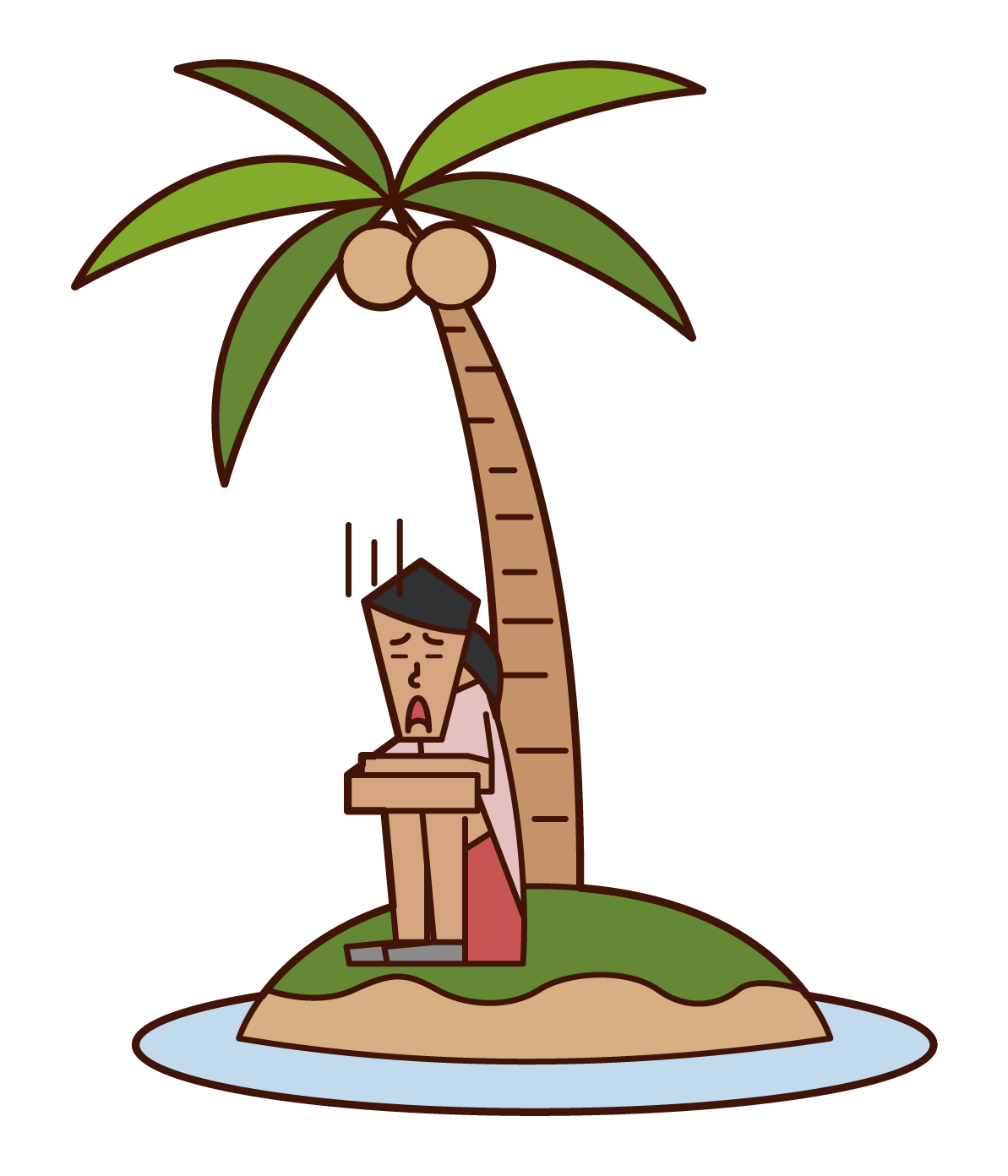 Illustration of a woman who arrived at a deserted island in distress