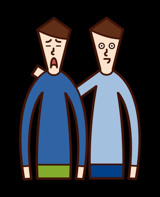 친구의 사람 (남성)을 격려하는 그림
