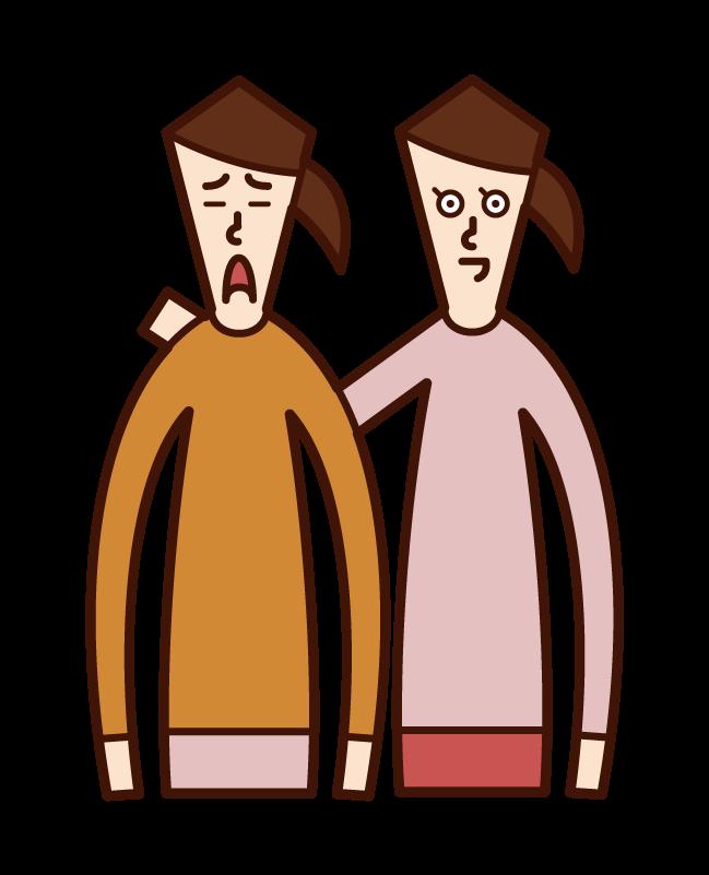 친구를 격려하는 사람 (여성)의 그림