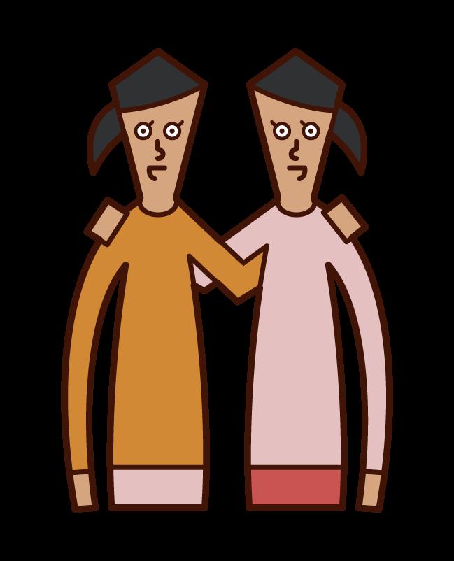 Illustration of teammate teamwork (female)