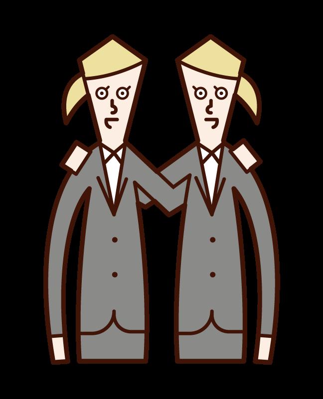 隊友和團隊合作(女性)的插圖