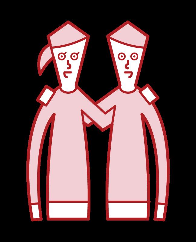 隊友和團隊合作的插圖