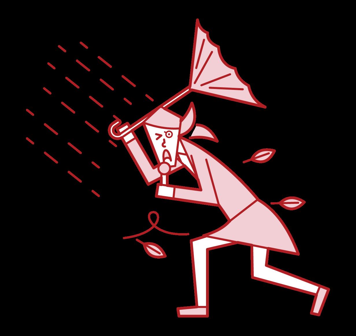 台風の中、報道をするリポーター(女性)のイラスト