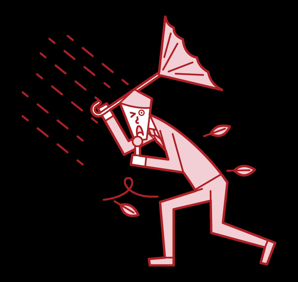 記者在颱風中報導的插圖