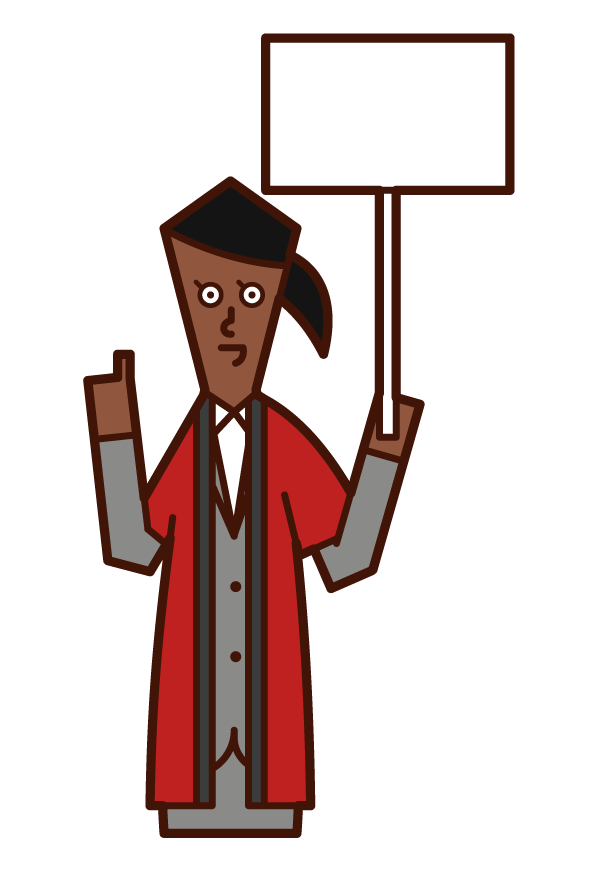 Illustration of a salesperson (woman) wearing a coat