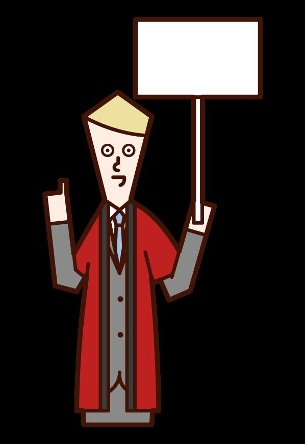 穿著法律服裝的銷售人員(男性)的插圖
