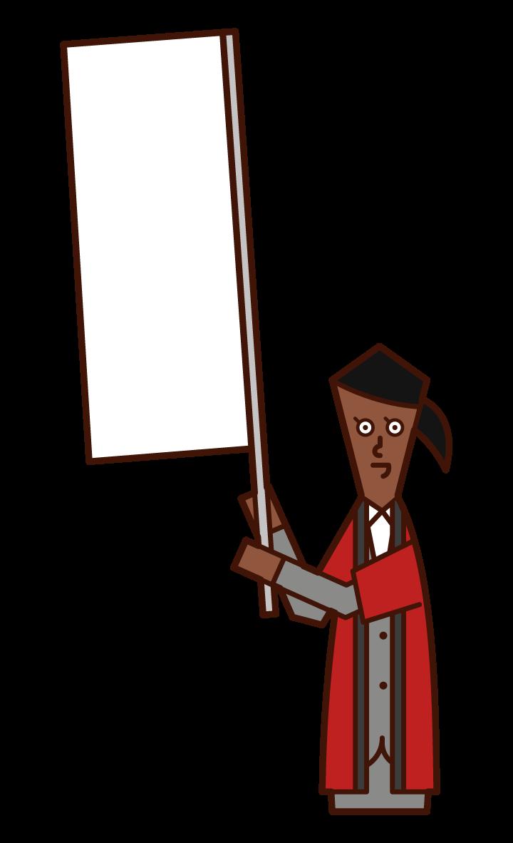 穿著法律服裝揮舞旗幟的銷售人員(女性)的插圖