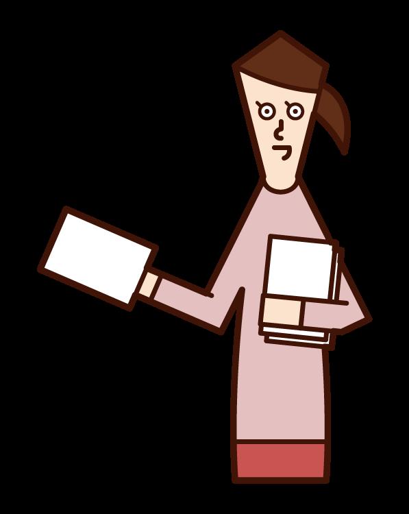 ビラ配りをする人(女性)のイラスト