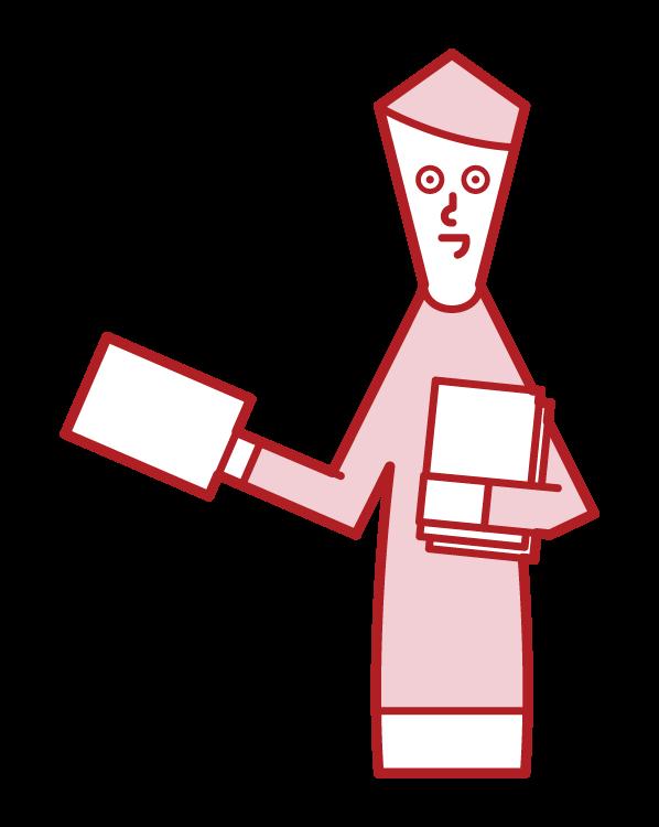 ビラ配りをする人(男性)のイラスト