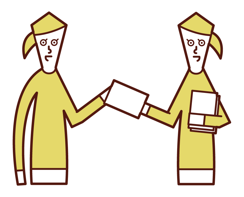 Illustration of a woman giving out flyers