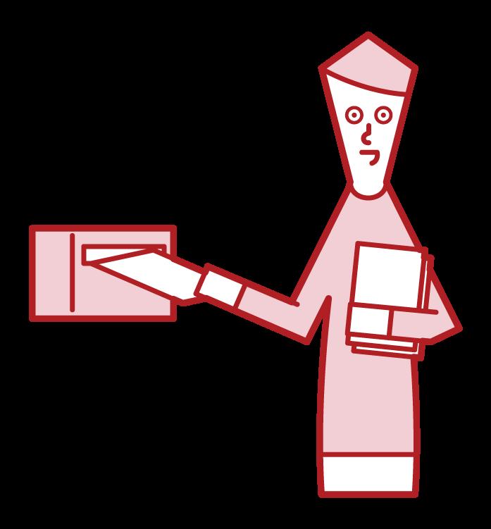 チラシをポスティングする人(男性)のイラスト