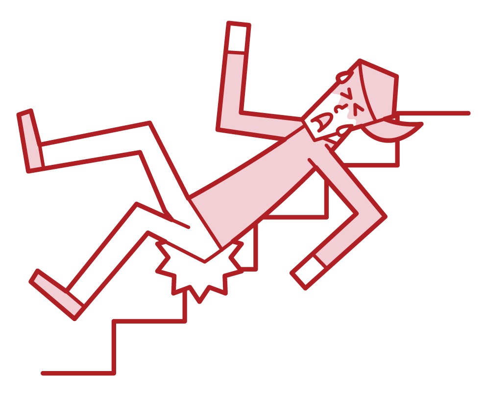 Illustration of a woman sliding down a stairs