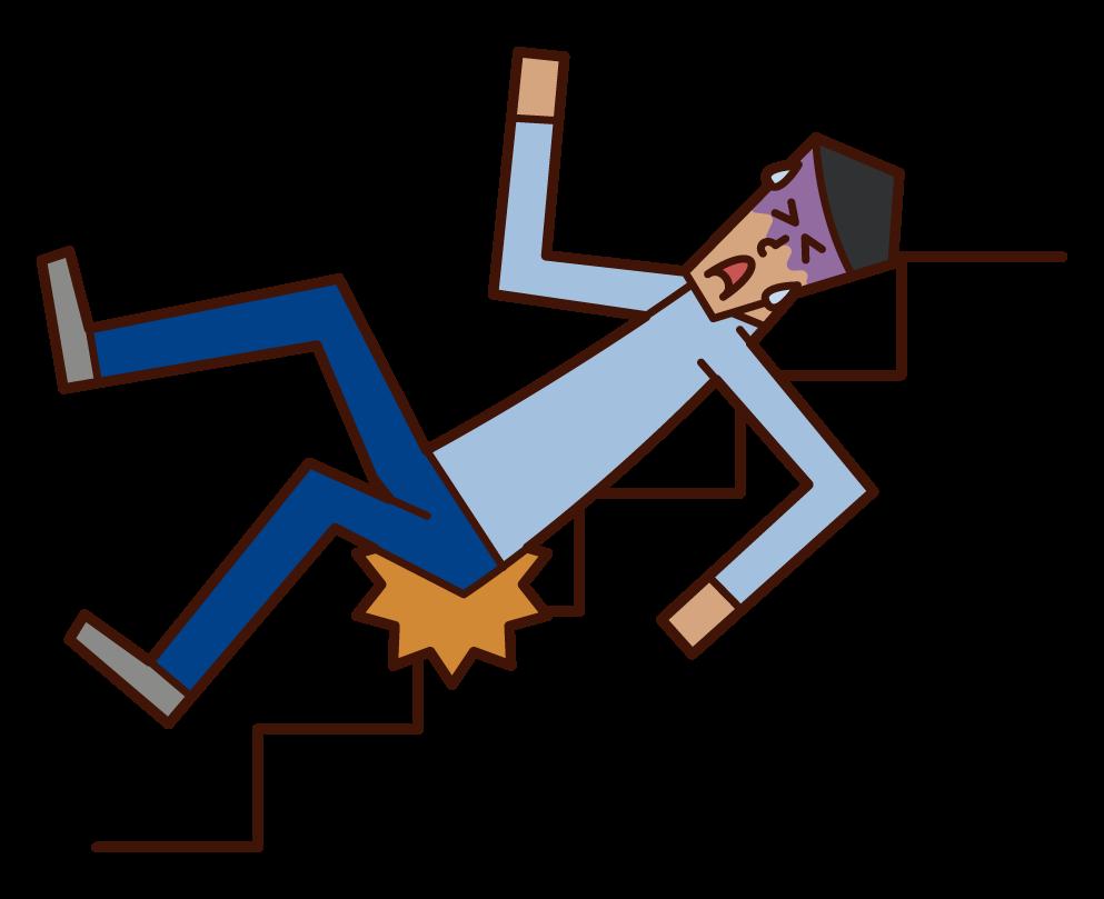 階段から滑り落ちる人(男性)のイラスト