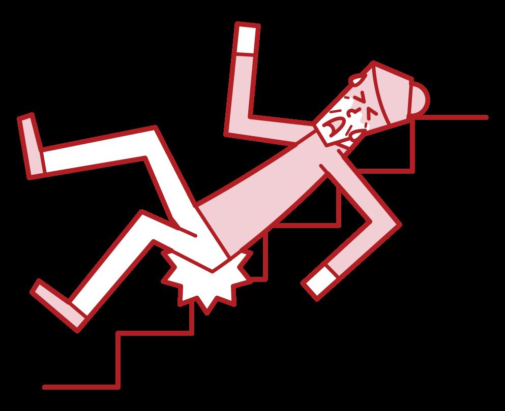 階段から滑り落ちる人(おばあさん)のイラスト