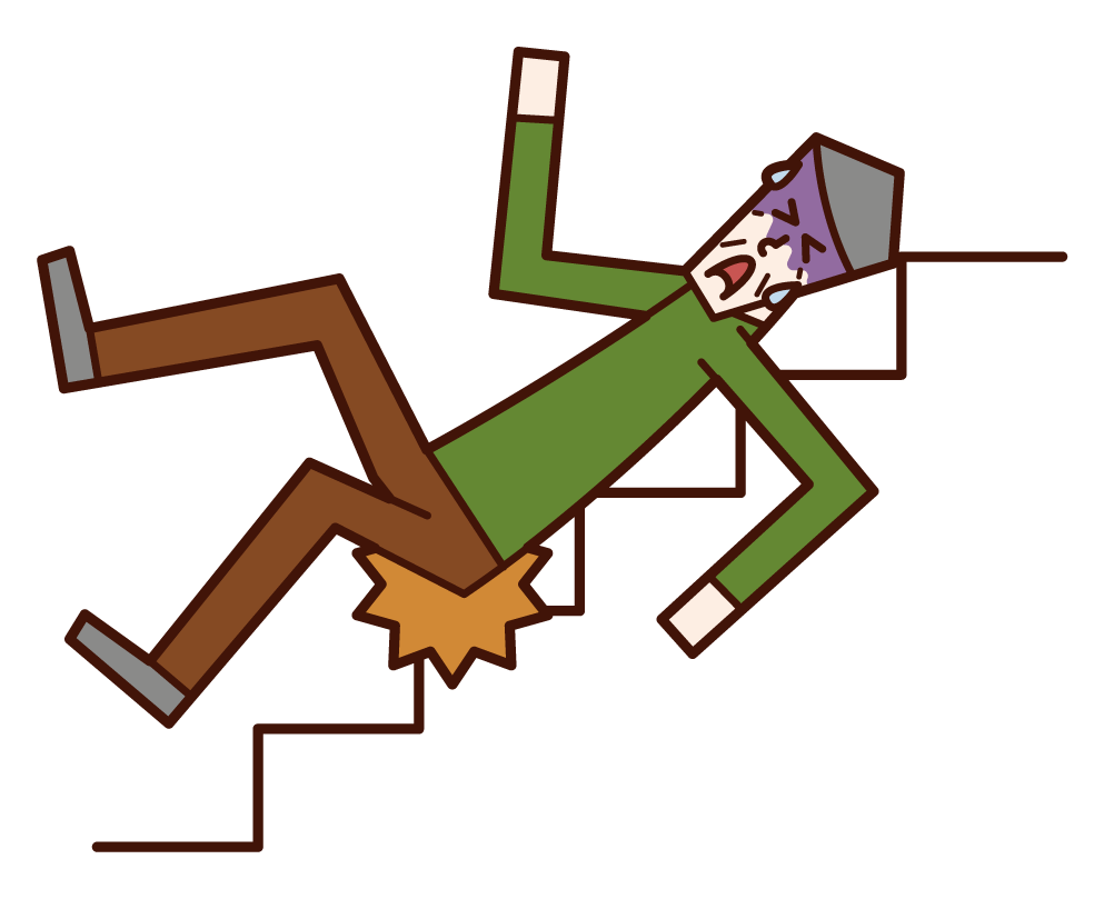 Illustration of a person sliding down the stairs