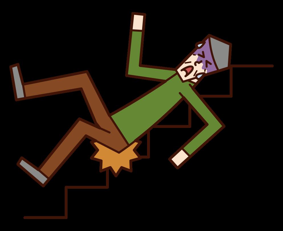 계단에서 미끄러진 남자의 그림