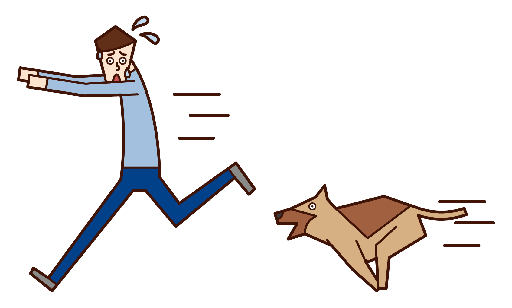 Illustration of a man (male) who runs away after being chased by a dog