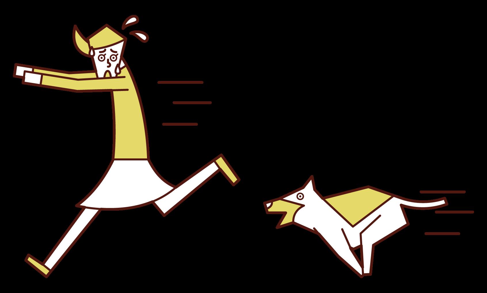 犬に追いかけられて逃げる人(女性)のイラスト