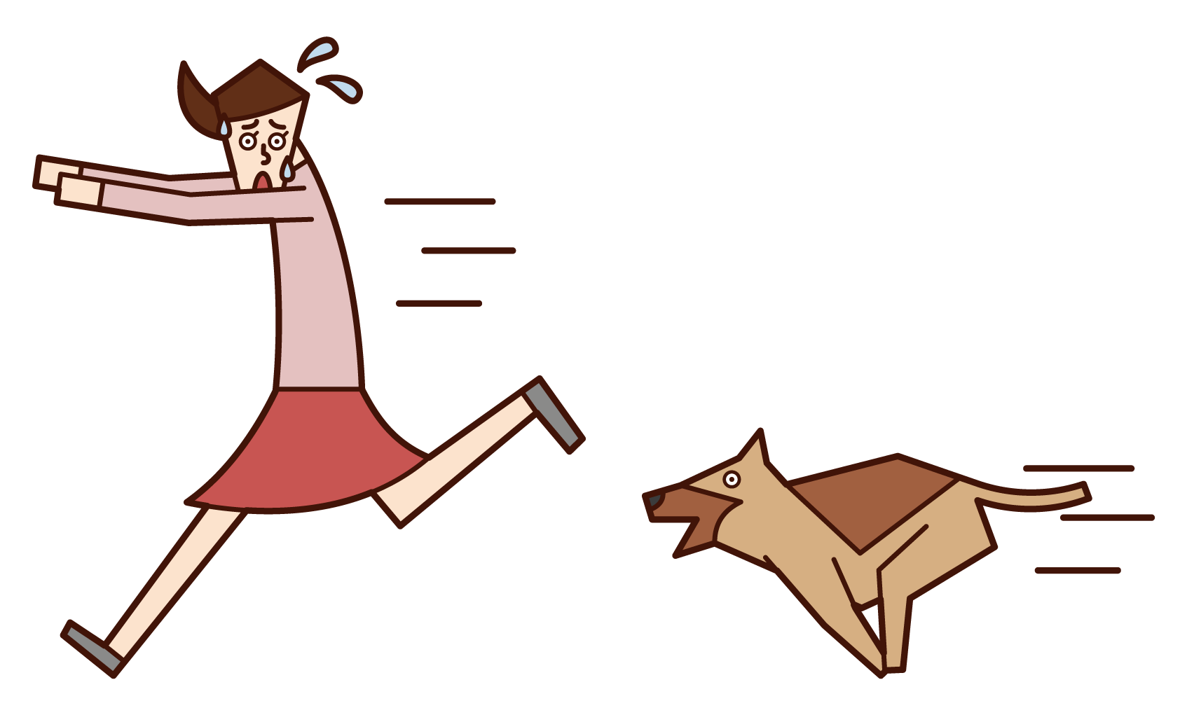 Illustration of a woman who runs away after being chased by a dog