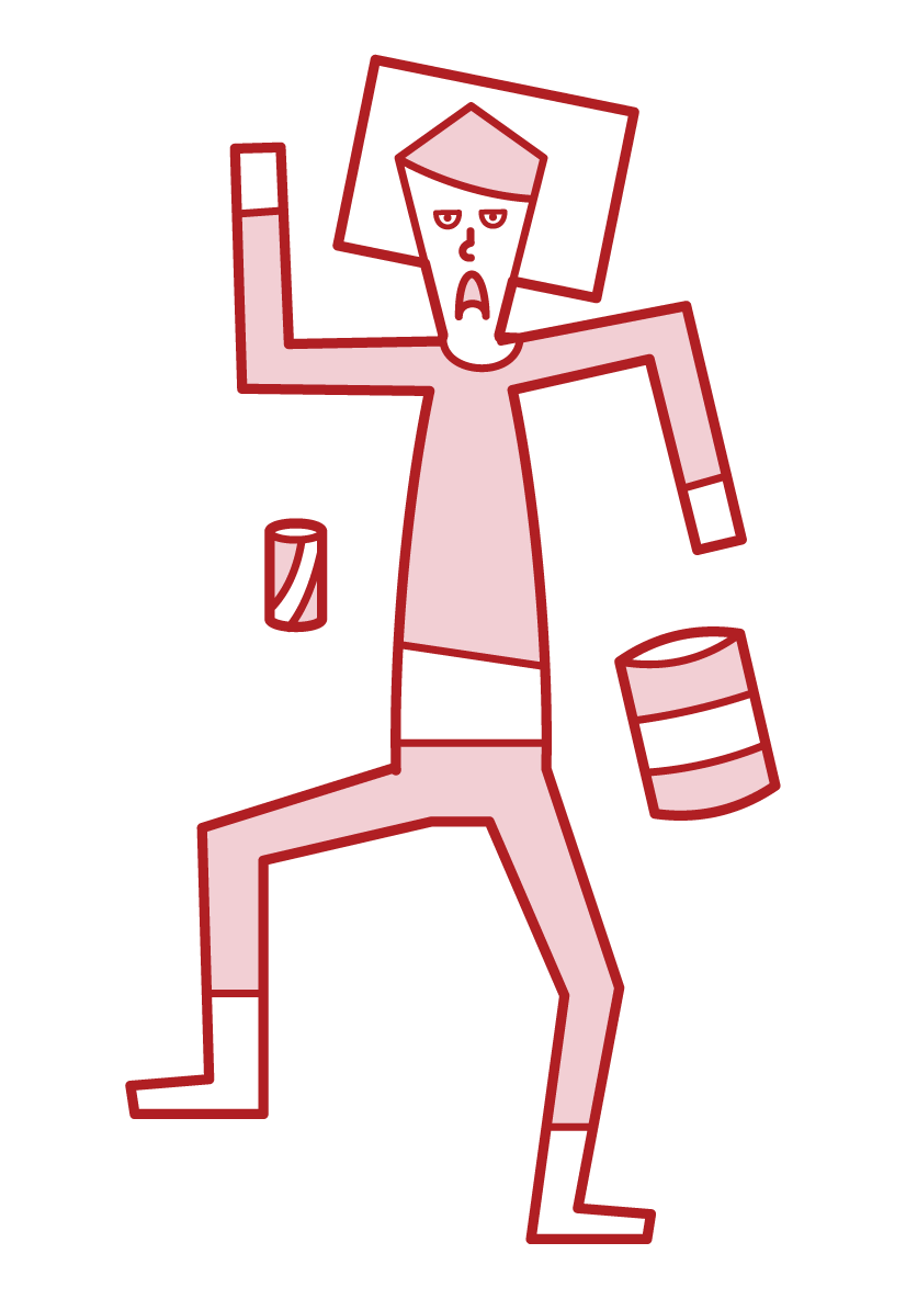 Illustration of a sloppy person (male)
