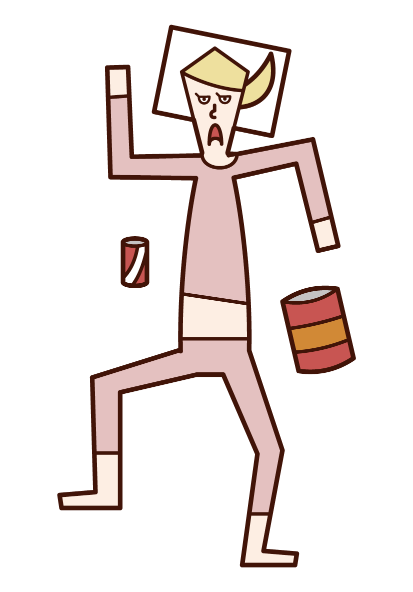 Illustration of a sloppy person (female)
