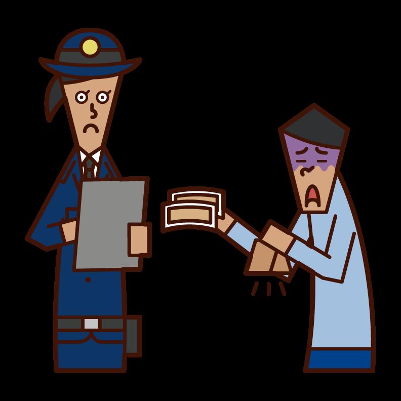 경찰에 벌금을 지불 한 사람 (남성)의 그림