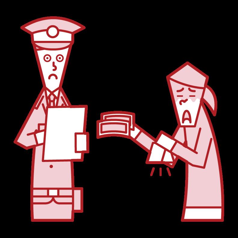 警察官に罰金を支払う人(女性)のイラスト