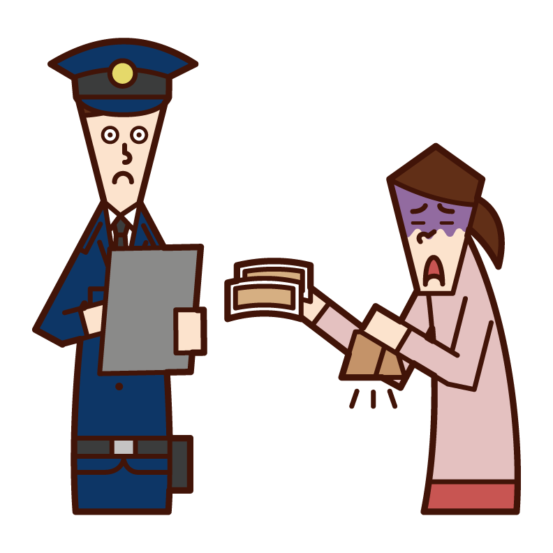 Illustration of a woman paying a fine to a police officer