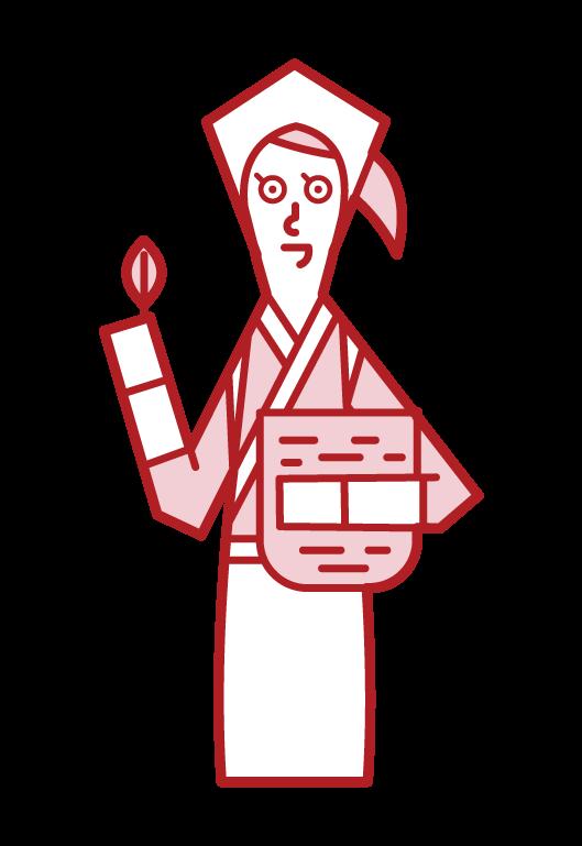 採茶者(女性)的插圖