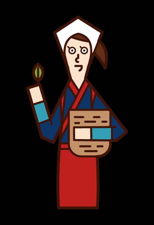 Illustration of a woman picking tea