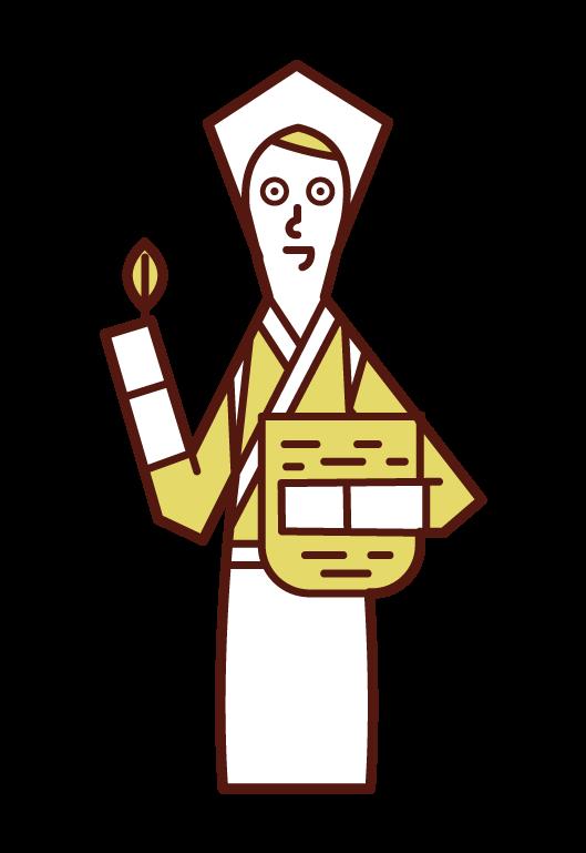 Illustration of a man picking tea