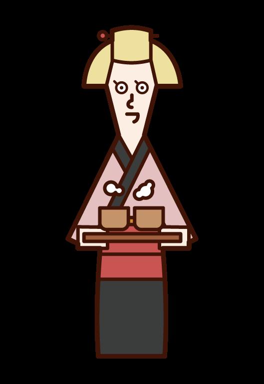 禦茶屋店員(女性)的插畫