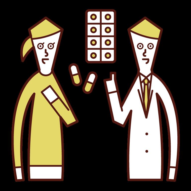 開藥的醫生和藥劑師(男性)的插圖