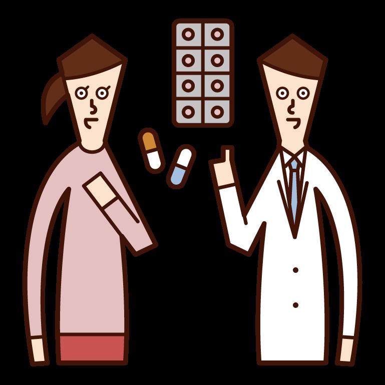 薬を処方する医師・薬剤師(男性)のイラスト