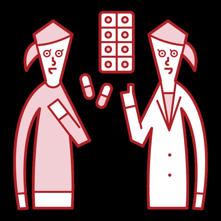 薬を処方する医師・薬剤師(女性)のイラスト