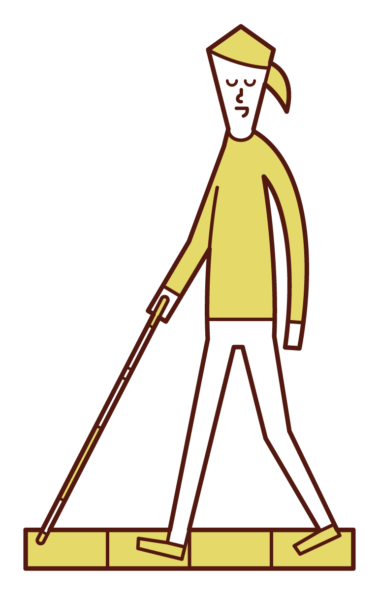 Illustration of a woman with visual impairment walking on a white cane