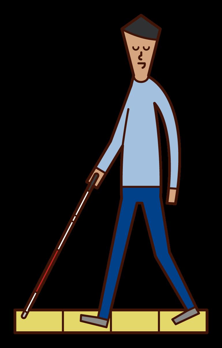 白杖をついて歩く視覚障がい者(男性)のイラスト