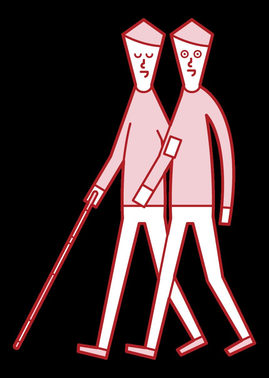 視覚障がい者と寄り添って歩く人(男性)のイラスト