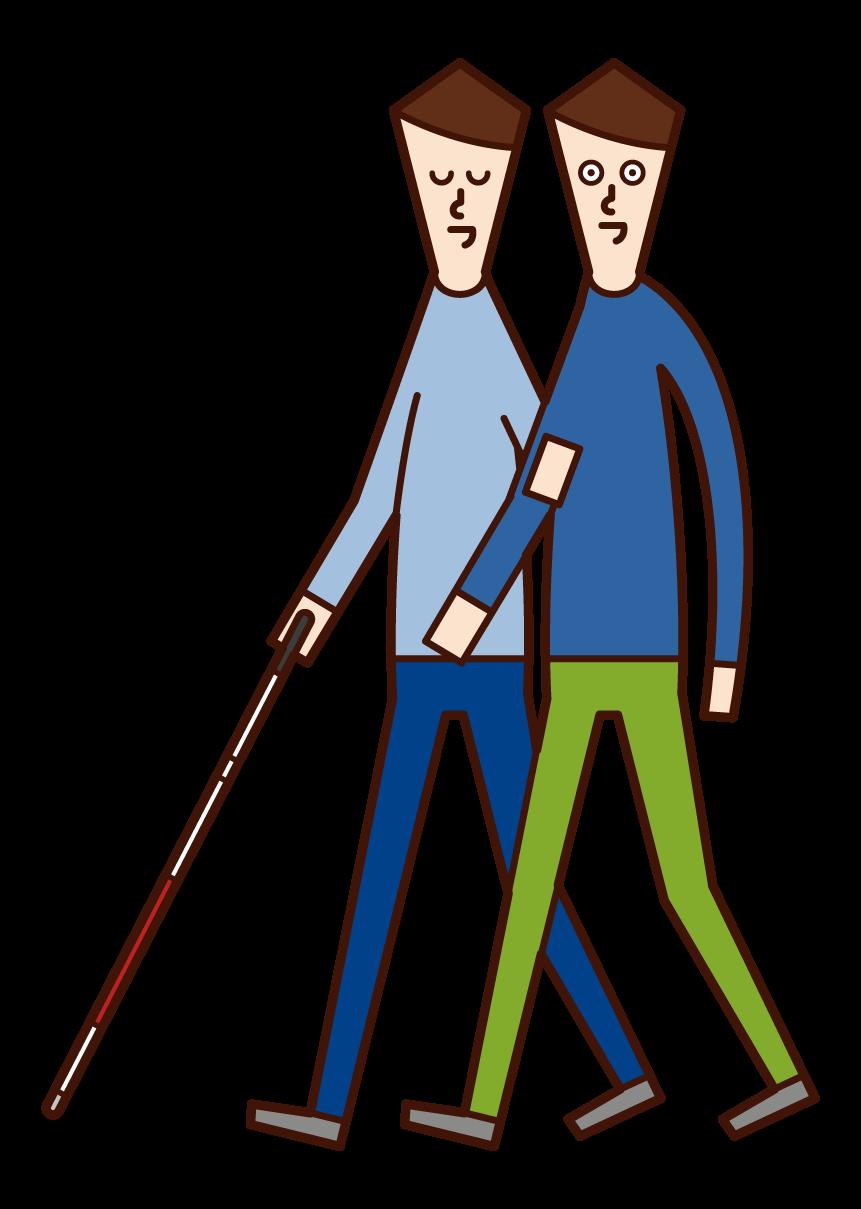 시각 장애인과의 친밀한 접촉을 위한 남성 일러스트레이션