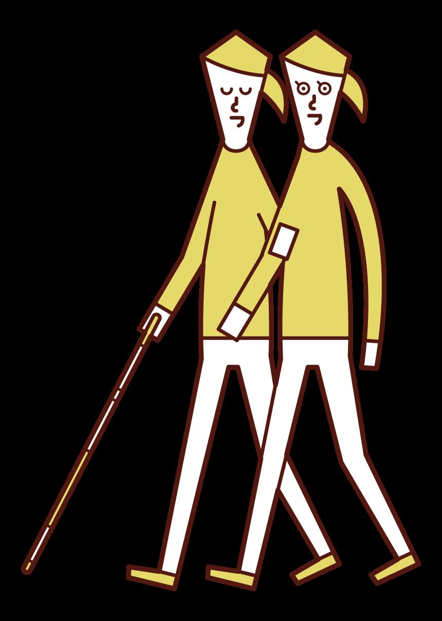 시각 장애인과의 친밀한 접촉을 위한 여성 일러스트레이션