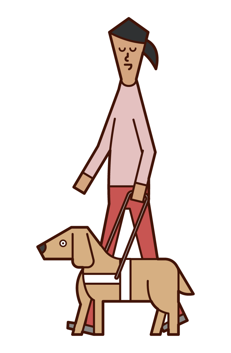 Illustration of a woman with visual impairment walking with a guide dog