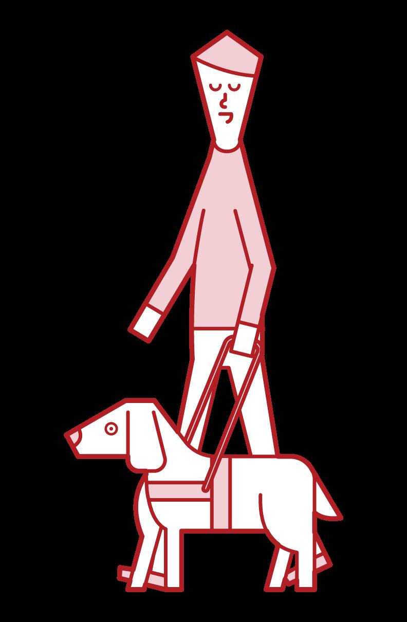 盲導犬と歩く視覚障がい者(男性)のイラスト