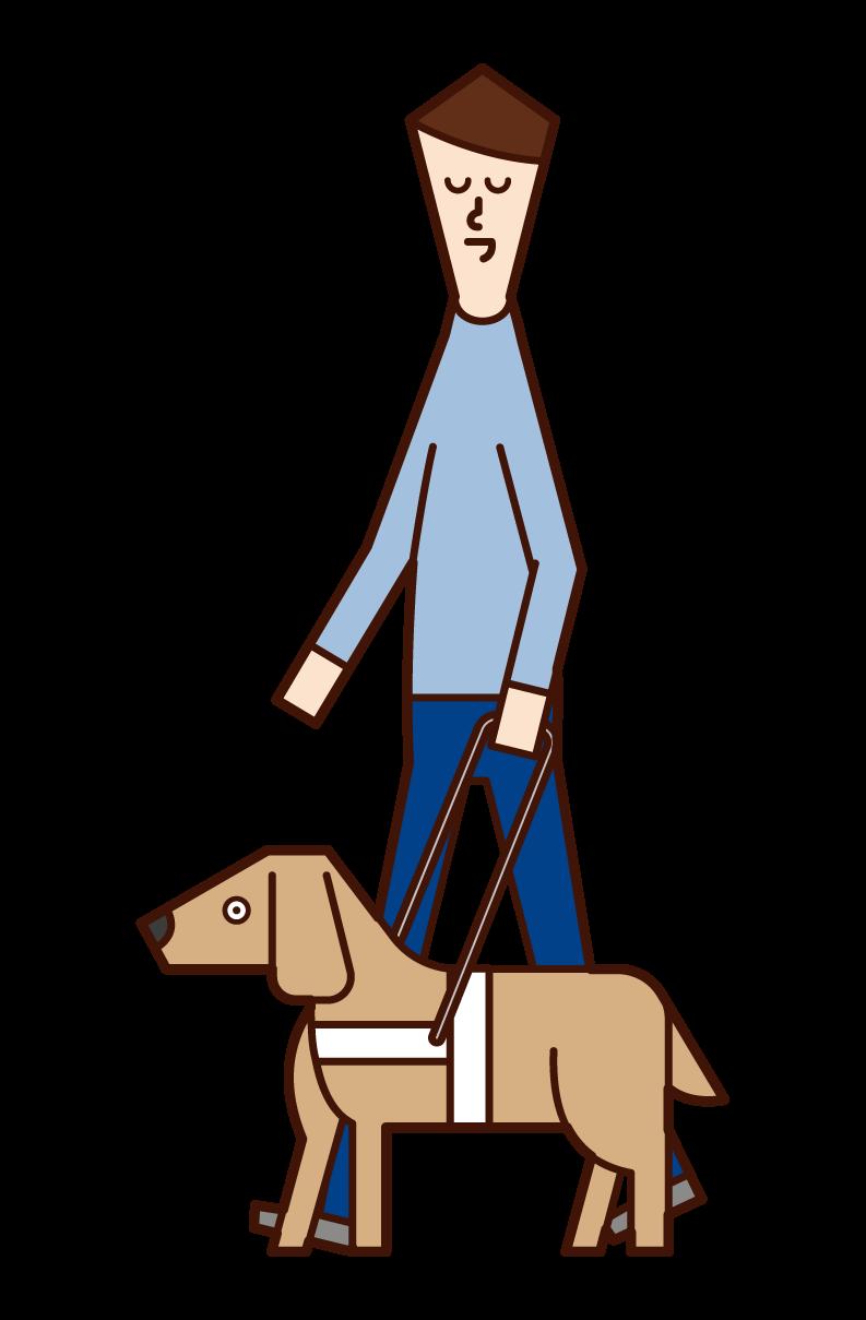 맹인 (남성)과 안내견의 걷기의 그림