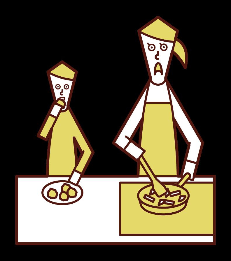 Illustration of a child (boy) eating knobs