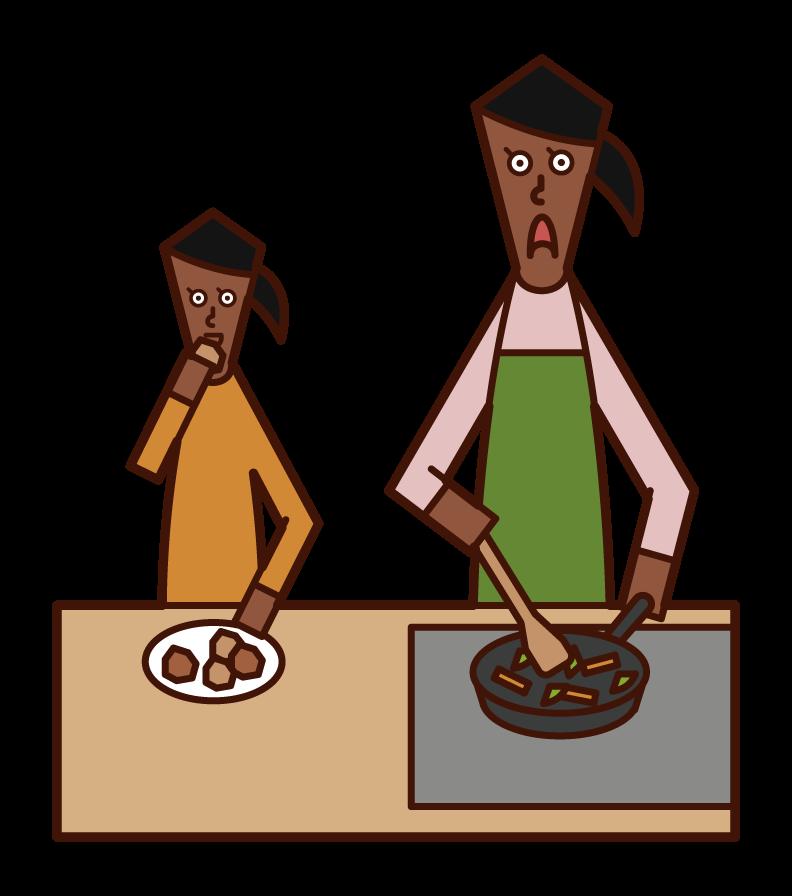 간식을 먹는 아이 (소녀)의 그림