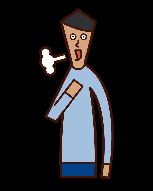 Illustration of a man who burps