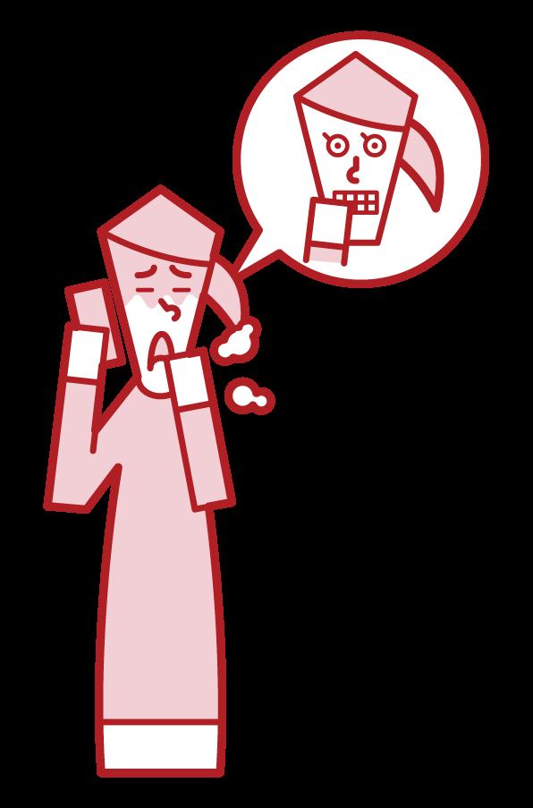 使用假病的人(女性)的插圖