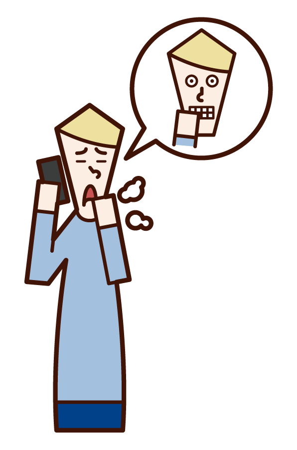 Illustration of a man (male) who uses a temporary illness